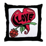 Love Heart with Rose Throw Pillow