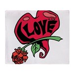 Love Heart with Rose Throw Blanket