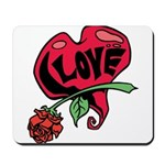 Love Heart with Rose Mousepad