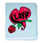 Love Heart with Rose baby blanket