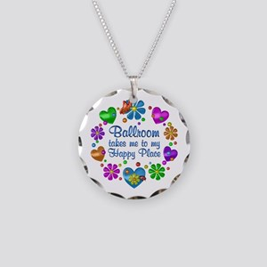 Ballroom My Happy Place Necklace Circle Charm