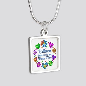 Ballroom My Happy Place Silver Square Necklace