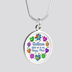 Ballroom My Happy Place Silver Round Necklace