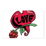 Love Heart with Rose Postcards (Package of 8)