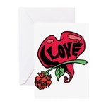 Love Heart with Rose Greeting Cards