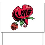 Love Heart with Rose Yard Sign
