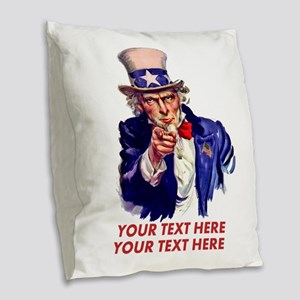 Personalize Uncle Sam Burlap Throw Pillow