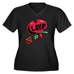 Love Heart with Rose Plus Size T-Shirt