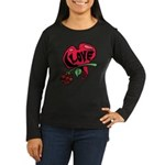 Love Heart with Rose Long Sleeve T-Shirt