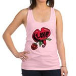 Love Heart with Rose Racerback Tank Top