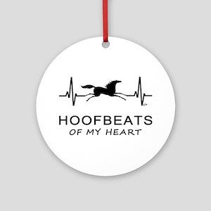 Horse Hoofbeats on my Heart Ornament (Round)