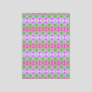 Pretty Pink Green Artistic Pattern 5'x7'Area Rug
