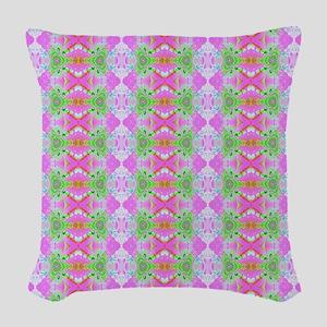 Pretty Pink Green Artistic Pat Woven Throw Pillow