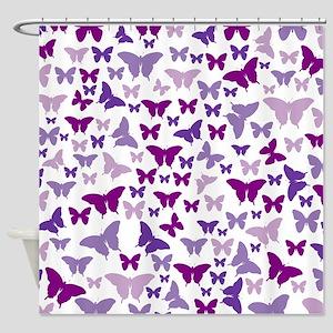 Pretty Purple Butterflies Shower Curtain