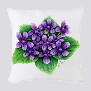 Violets Woven Throw Pillow