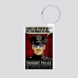 Thought Police Free Speech Aluminum Photo Keychain
