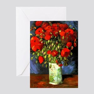 Vincent Van Gogh Vase With Red Poppi Greeting Card