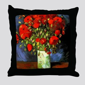 Vincent Van Gogh Vase With Red Poppie Throw Pillow