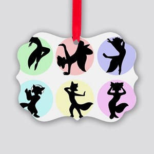 Dancing foxes Picture Ornament