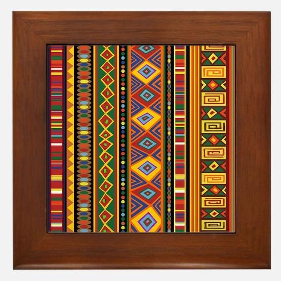 Ethnic Colorful Pattern Africa Art Framed Tile