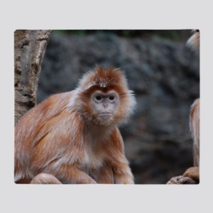 Cute Red Langur Monkey Throw Blanket