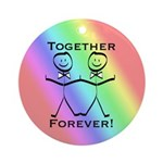 2 Grooms Together Forever Ornament (Round)