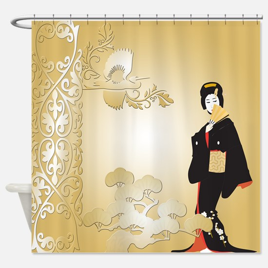 Japanese Woman In Beige Shower Curtain