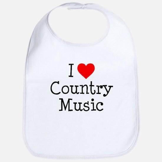I Love Country Music Bib