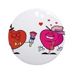 Romantic Heart Giving Flowers Ornament (Round)