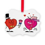 Romantic Heart Giving Flowers Ornament