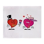 Romantic Heart Giving Flowers Throw Blanket
