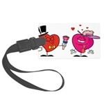 Romantic Heart Giving Flowers Luggage Tag