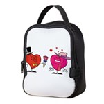 Romantic Heart Giving Flowers Neoprene Lunch Bag