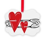 Baby Pin with Hearts Ornament