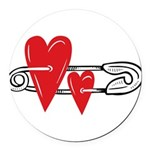 Baby Pin with Hearts Round Car Magnet