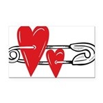 Baby Pin with Hearts Rectangle Car Magnet