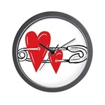 Baby Pin with Hearts Wall Clock