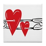 Baby Pin with Hearts Tile Coaster