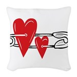 Baby Pin with Hearts Woven Throw Pillow