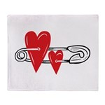 Baby Pin with Hearts Throw Blanket