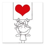 Cartoon Stick Cupid Girl with Banner Square Car Ma
