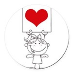 Cartoon Stick Cupid Girl with Banner Round Car Mag