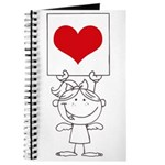 Cartoon Stick Cupid Girl with Banner Journal