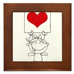Cartoon Stick Cupid Girl with Banner Framed Tile