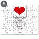 Cartoon Stick Cupid Girl with Banner Puzzle