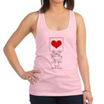 Cartoon Stick Cupid Girl with Banner Racerback Tan