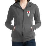 Cartoon Stick Cupid Girl with Banner Zip Hoodie