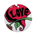 Love Heart with Rose Ornament (Round)