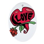 Love Heart with Rose Ornament (Oval)