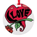 Love Heart with Rose Ornament